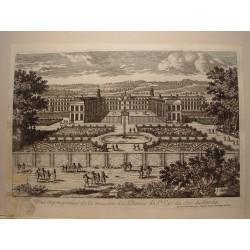 «Veue et perspective de la maison des Dames de St. Cyr du coté du Jardin» Dibujó y grabó Pierre Aveline (París,1656-1722).
