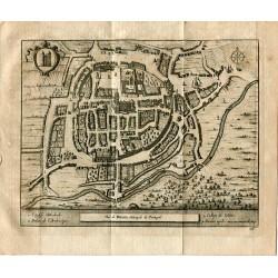 Portugal. Vue de Braga. Metropole du Portugal grabado 1715 de Alvarez de Colmenar