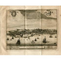 Portugal. Vue de Lisbonne de côté du Tajo grabado 1715 de Alvarez de Colmenar.
