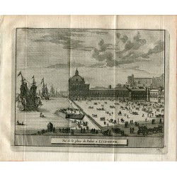 Portugal. Vue de la place du Palais á Libonne grabado 1715 por Alvarez de Colmenar