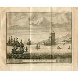 Portugal. Vue de la Tour de Bellem, grabado 1715 por Alvarez de Colmenar