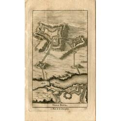 Portugal. Villa Nova, fort de la Conception grabado 1715 por Alvarez de Colmenar