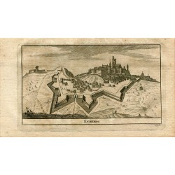 Portugal. Estremos, grabado 1715 por Alvarez de Colmenar