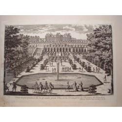 «Veue et perspective de la Gran Piece d´Eau ey d´Orangerie du Chateua de Meudon» Dib.y grabó Pierre Aveline (París,1656-1722).