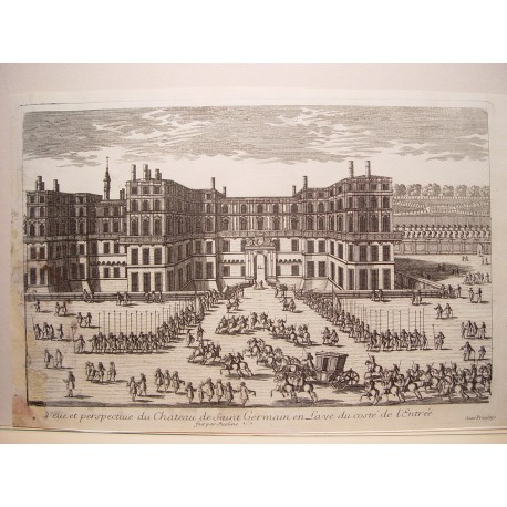 «Veue et perspective  du Chateau de St. Gremain en Laye du costé de l´Entrée» Dib.y grabó Pierre Aveline (París,1656-1722)»