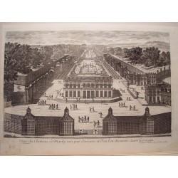 «Veue du Chateau de Marly veu par derriere et d´ou l´on decouvre  St. Germain» Dib.y grabó Pierre Aveline (París,1656-1722)»