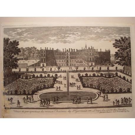 «Veue et perspective du vieux Chateau de St. Germain en Laye du costé du Jardin» Dib.y grabó Pierre Aveline (París,1656-1722).