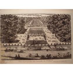 «Veue et perspective des Cascades de St. Cloud» Dibujó.y grabó Pierre Aveline (París,1656-1722).
