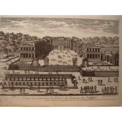 «Veue et perspective de l´entrée du Chateau de St. Cloud» Dibujó.y grabó Pierre Aveline (París,1656-1722).