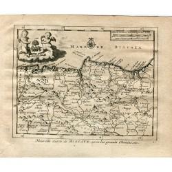Nouvelle carte de BISCAYE avec les grands chemins grabado por P. Van der Aa (Alvarez de Colmenar)