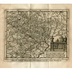 Nouvelle carte d' Aragon et Navarre avec les grands chemins por P.van der Aa (Alvarez de Colmenar)