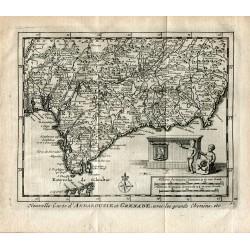 Nouvelle Carte d'Andalusie et Grenade avec les grands chemins por P.van der Aa (Alvarez de Colmenar)