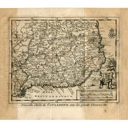 Nouvelle carte de CATALOGNE avec les grands chemins por P.van der Aa (Alvarez de Colmenar)