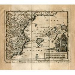 Nouvelle carte de Murcie, Valence et les Iles Balears avec les grands chemins por P.van der Aa (Alvarez de Colmenar)