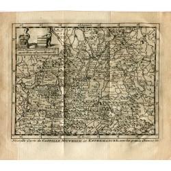 Nouvelle carte de Castillae Nouvelle et Estremadure avec les grands chemins por P.van der Aa (Alvarez de Colmenar)