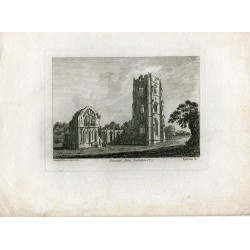 Ingaterra. Fountain Abbey Yorkshire. Grabado por Sparrow en 1785
