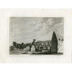 Inglaterra. Coverham Abbey, Yorkshire grabado por Godfrey y publicado en 1785 por S. Hooper