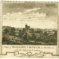 View of Hornsey Church in Middlesex grabado publicado por Alex Hogg en 1780
