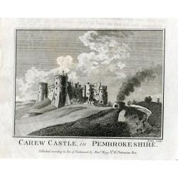 Inglaterra. Carew Castle in Pembrokeshire sobre obra de Lowry, publicado por Alex Hogg en 1786