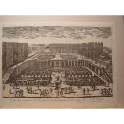 «Perspective de l'Orangerie et du Chateau de Versailles du costé du Jardin» Dibujó y grabó Pierre Aveline (París,1656-1722).