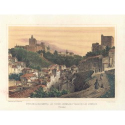 Spain. Andalusia. Granada. 'Alhambra view and the Bermejas towers'