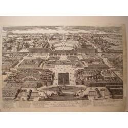 «Veue general de la Ville et du Chasteau de Versailles du costés des Jardins» Dibujó.y grabó Pierre Aveline (París,1656-1722).