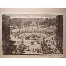 «Veue de l´allée et de la grande piece d´Eau a Versailles, a main droite» Dib..y grabó Pierre Aveline (París,1656-1722).
