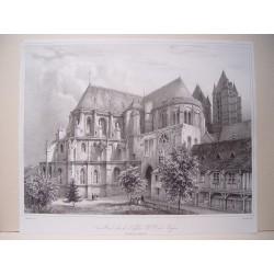 Francia. «Vue Nord Est de l´Eglise N.D. de Noyon» Dibujó Benoist. Litografió Jacottet.