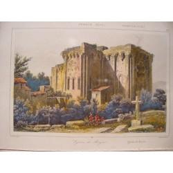 Francia. «Eglise de Royat» Grabado por Agustín Francois Lemaitre (París,1797-1870)