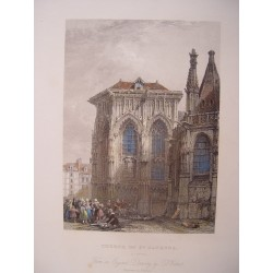 Francia. Dieppe 'Church of St. Jacques' Painted by David Roberts. Engraved by Thomas Higham (1796-1844)
