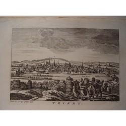 Italia. 'Vista general de Trieste' Engraved by J. Mynde artista activo en Londres entre 1740-1770.