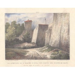 Spain. 'Tower of San Martin with part of the bridge of Jalon'