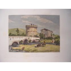 Italia. 'Ponte Lucano, e Sepolcro della Famiglia Plauzia'. Por el grabador romano Domenico Amici.