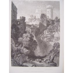 Italia. «Castle of Nepi» Dibujó James Duffield Harding (1708-1863). Grabó James Bayle Allen (1803-1876)