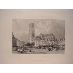 Bélgica. «The Cathedral of Malines». Pintó Thomas Allom (1804-1872).Grabó John Henry Le Keux (1812-1896)