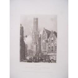 Bélgica. «Bruges».Dibujó R.P.Bonnington. Grabó W.Henshall en 1834