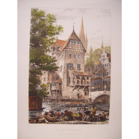 Alemania. 'An Old German Mill' Grabado Axel Herman Haig (1835-1921)