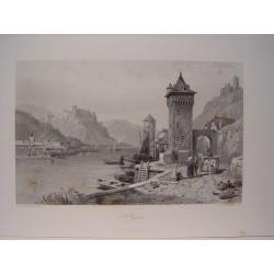 Alemania. «St. Goar»  Pintó Thomas Leeson Rowbotham.(1783-1853) Grabó Jean Jacques Outhwaite