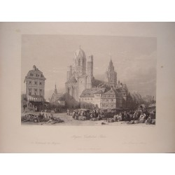 Alemania. «Mayence Cathedral, Rhine» Pintó William Leighton Leitch (1804-1883). Grabó J.Redaway.