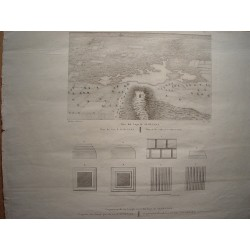 Spain. Madrid. Plan of the Lake of Almenara with fragments of a Temple near the lake of Almenara' Alexandre Laborde (1810-11)
