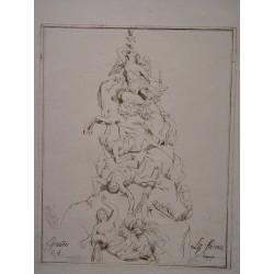 «La fama» Boceto parece para una fuente. Firmado ilegible.