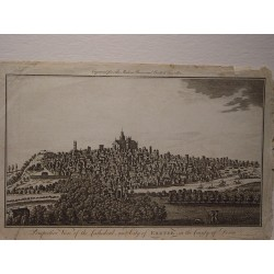 «Perspective view of the Catedral and City of Exeter in the County of Devon» Realizado en 1794