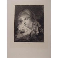«Joven» Grabado por François Flameng (1856-1923)