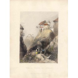 Turquía. «Village in Roumelia near Adrianople». Dibujó J. Salmon (1785-1855). Grabó J.C. Bentley (1809-1851)