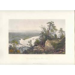 Estados Unidos. «Connecticut Valley from Mount Tom» Dibujó J.F. Woodward(). Grabó Samuel.V. Hunt (1803-1892)