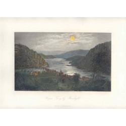 Estados Unidos. «Harper´s Ferry by Moonlight» Dibujó G. Perkins (1830-1895).. Grabó Robert Hinshelwood (1812-)