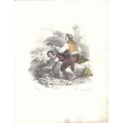Pareja de jovenes' Drawn Jules david. Lithographed by Formentin