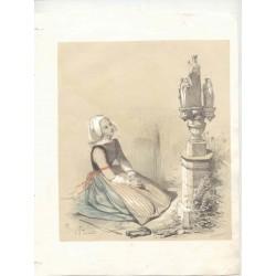 «Joven rezando» Dibujó P.S. GermainLitografíado por Formentin & Cie.