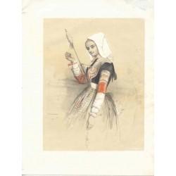 «Joven con una rueca» Dibujó P.S. Germain. Litografíado por Formentin & Cie.