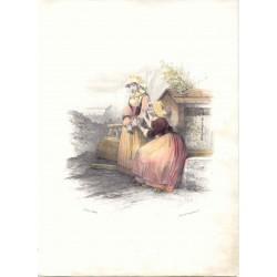«Pareja de aldeanas» Pintó Jules David. Litografió Formentin & Cie